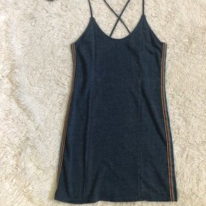 NWOT OBEY blue cotton dress with rainbow stripes